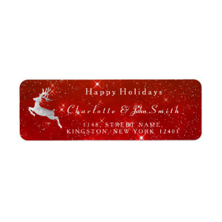 Happy Holidays Christmas Red Sky Silver Deer Return Address Label