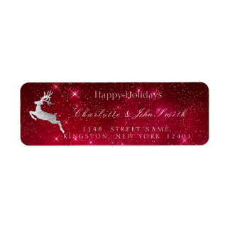 Happy Holidays Christmas Red Stars Silver Deer Return Address Label