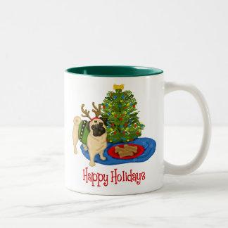 Happy Holidays Christmas Reindeer Pug Mugs