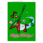 Happy Holidays Christmas Rock Guitar and Notes Greeting Cards