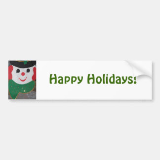 Happy Holidays Christmas Snowman Bumper Sticker