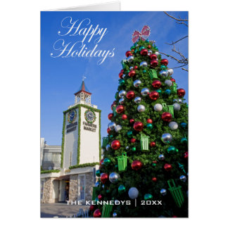 Happy Holidays - Christmas Tree at Farmers Market Greeting Card