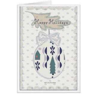 Happy Holidays Christmas  tree bulb with bow Card