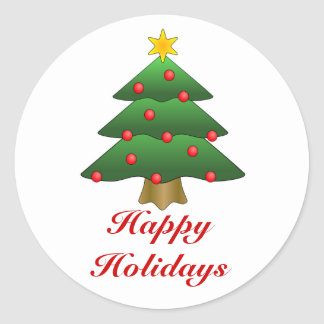 Happy Holidays, Christmas Tree with lights Classic Round Sticker