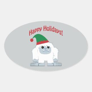 Happy Holidays! Christmas Yeti Oval Sticker