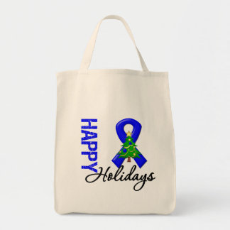 Happy Holidays Colon Cancer Awareness Tote Bags