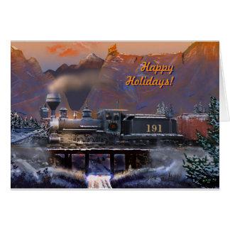 Happy Holidays!  Colorado Steam Train/snow Card