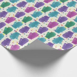 Happy Holidays Colorful Mittens on Confetti Wrapping Paper