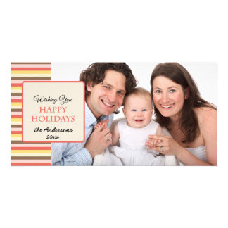 Happy Holidays Colorful Stripes 2 Photo Card