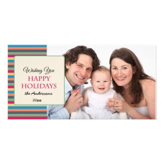 Happy Holidays Colorful Stripes Photo Card
