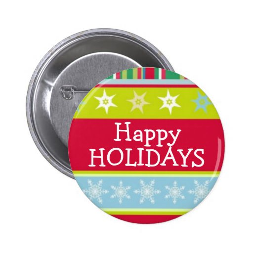 Happy Holidays colourful christmas button/badge