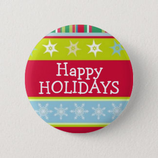 Happy Holidays colourful christmas button/badge 6 Cm Round Badge