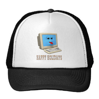 HAPPY HOLIDAYS COMPUTER GREETING GIFTS TRUCKER HATS
