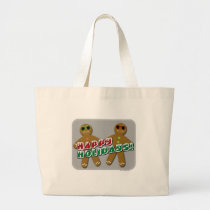 Happy Holidays Cool Gingerbread Man Large Tote Bag