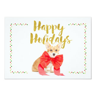 Happy Holidays Corgi Card