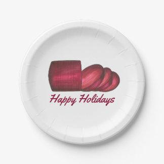 Happy Holidays Cranberry Sauce Christmas Plates