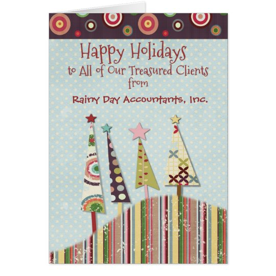 Happy Holidays Custom Business Name Colourful Card