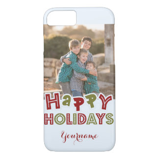 Happy Holidays custom photo & name cases