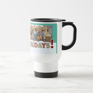 Happy Holidays custom photo & name mugs