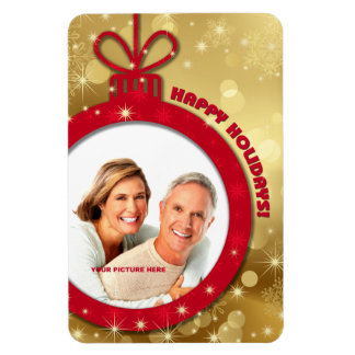 Happy Holidays Customizable Photo Magnets Rectangle Magnets
