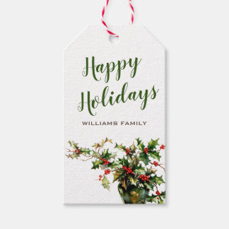 Happy Holidays Customizable Vintage Holly Gift Tags