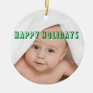 Happy Holidays Customized Round Ceramic Decoration