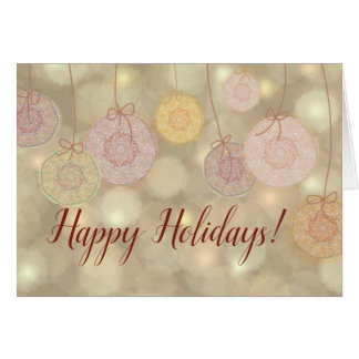 Happy holidays cut-out dancing balls card