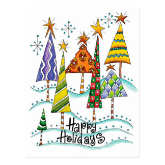 Happy Holidays! Cute Christmas Trees with Stars Postcard