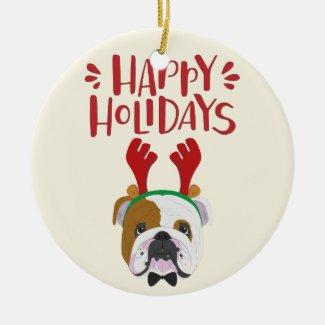 Happy Holidays - Cute English Bulldog Christmas Christmas Ornament