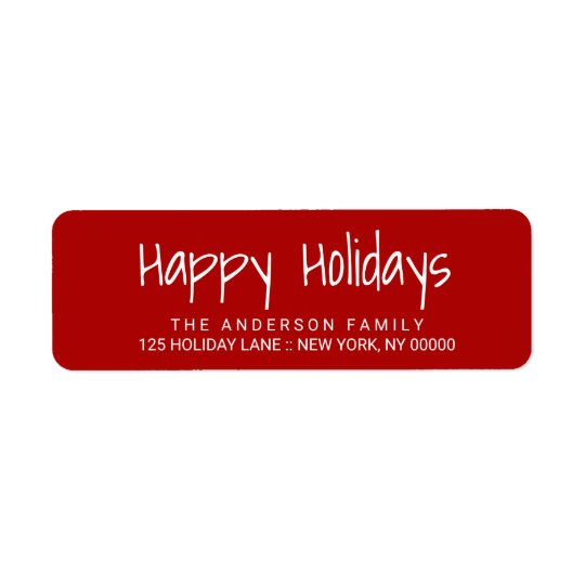 Happy Holidays Cute Hand-Printed Lettering Label