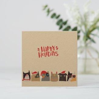 Happy Holidays! Cute Santa Christmas Cats - Kraft Holiday Card