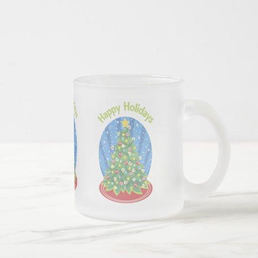 Happy Holidays Decorated Tree Mug