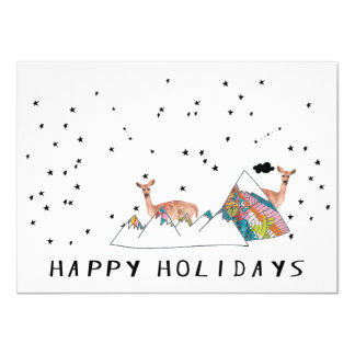 Happy Holidays Deer Mountain Whimsy Card