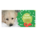 Happy Holidays Dog Photo Cards Wreath Green