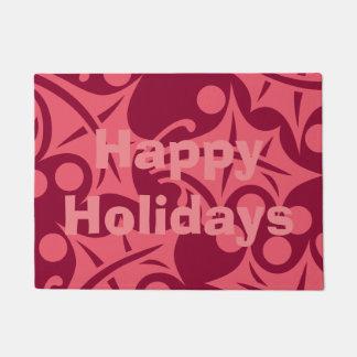 Happy Holidays Door Mat in Pink