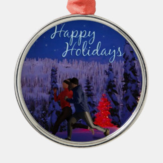 Happy Holidays - Double Runners Silver-Colored Round Decoration