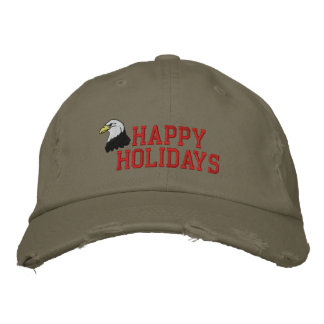 Happy Holidays Eagle Embroidered Hat