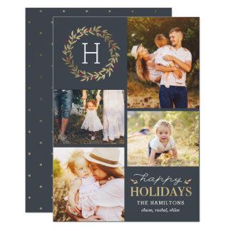Happy Holidays EDITABLE Color Festive Wreath Card