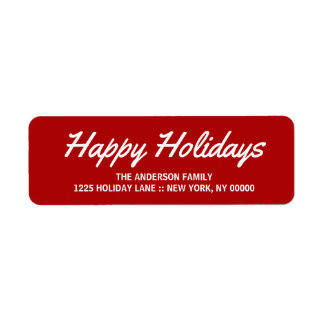 Happy Holidays Elegant Brushstroke Script Label Return Address Label