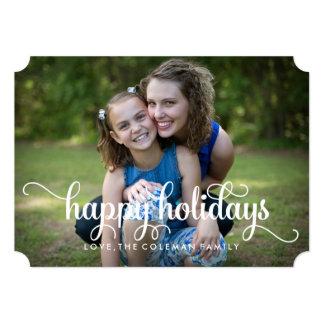 Happy Holidays Elegant Family Photo Card 13 Cm X 18 Cm Invitation Card