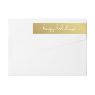 Happy Holidays Elegant Gold Hand Lettered Wrap Wrap Around Label