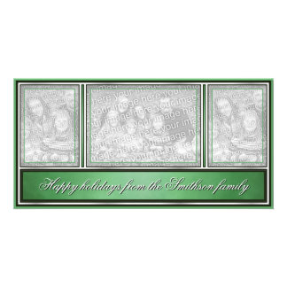 Happy Holidays Elegant Modern Green Picture Card