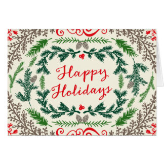 Happy Holidays Elegant Pines Greeting Card