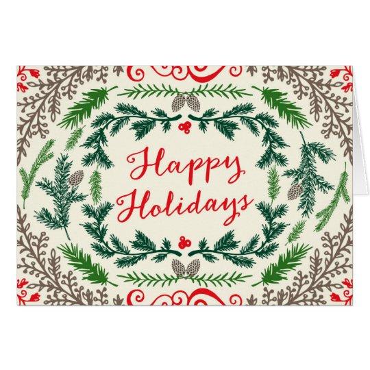 Happy Holidays Elegant Pines Greeting Card