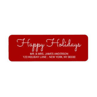Happy Holidays Elegant Red Hand Lettered Label Return Address Label