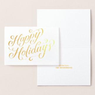 Happy Holidays Elegant Script Gold Foil Card