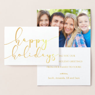 Happy Holidays Elegant Script Holiday Photo Gold Foil Card