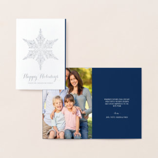 Happy Holidays Elegant Silver Foil Snowflake Foil Card