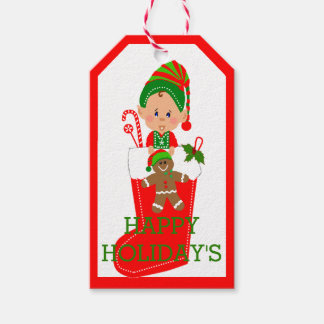 Happy Holidays Elf Gift Tags
