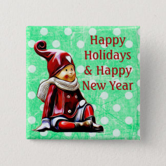 Happy Holidays Elf Green Polka Dot Christmas Butto 15 Cm Square Badge